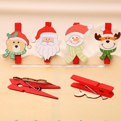 Christmas Supplies Christmas Decorations Christmas Cartoon Wooden Clips DIY Santa Claus Small Wood Clip 5CM NHMV176253's discount tags