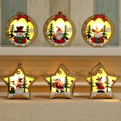 Christmas decorations wooden luminous pendant Christmas tree decoration pendant Christmas gift wooden pendant NHMV176257's discount tags