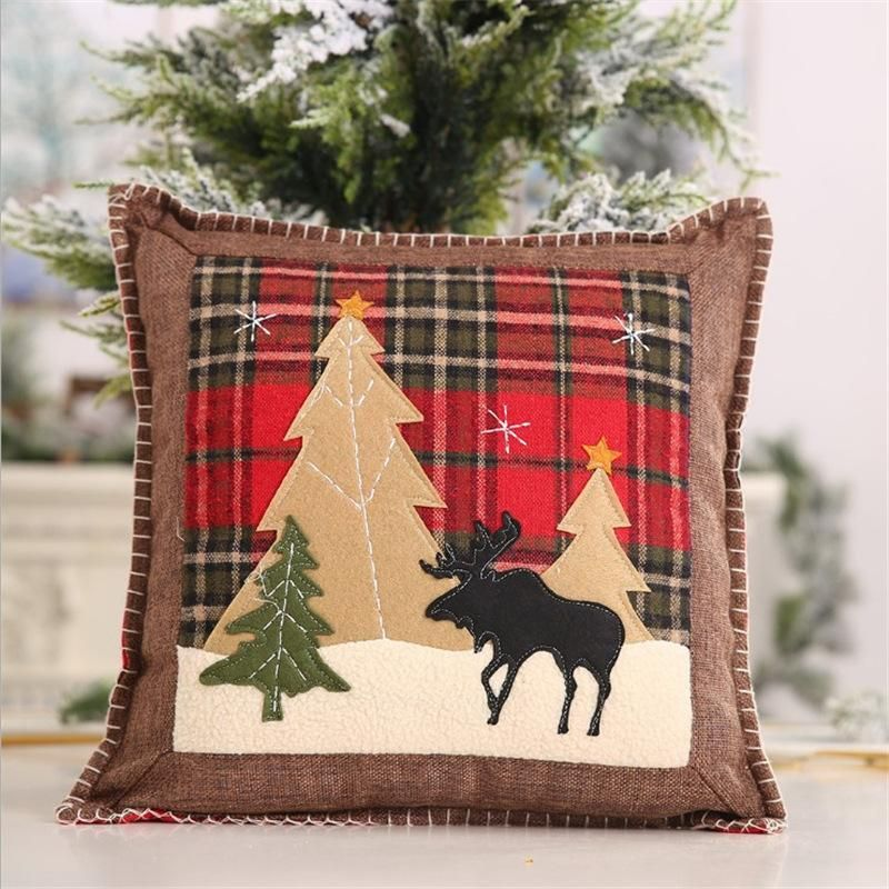 Christmas New Products Decorative Plaid Pillow Case Patch Cloth Pillow Case Elk Small Pillow Case Pillow Cover Gift NHMV176262