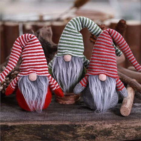 Christmas new striped hat no face doll doll figure ornaments children creative plush toys NHMV176265's discount tags