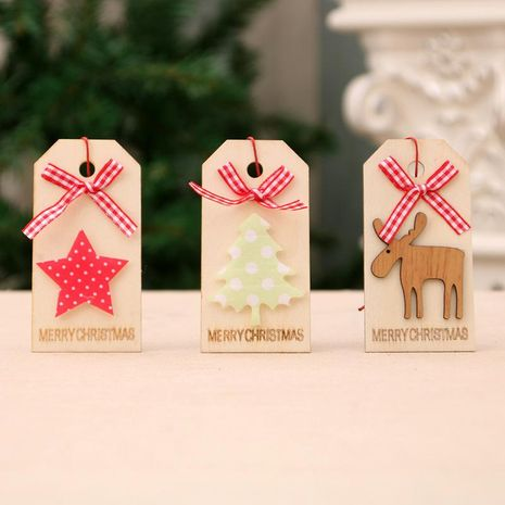 New Christmas Decoration Christmas Wooden Pendant Christmas Tree Pendant Bow Wooden Tag NHMV176270's discount tags