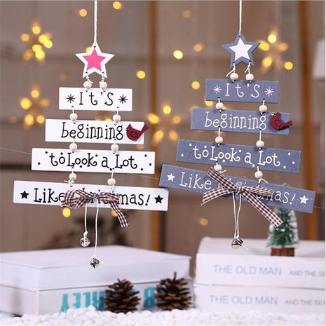 New Christmas wooden Christmas tree Christmas door hanging decoration wind chime letter card pendant Christmas bell hanging NHMV176273's discount tags