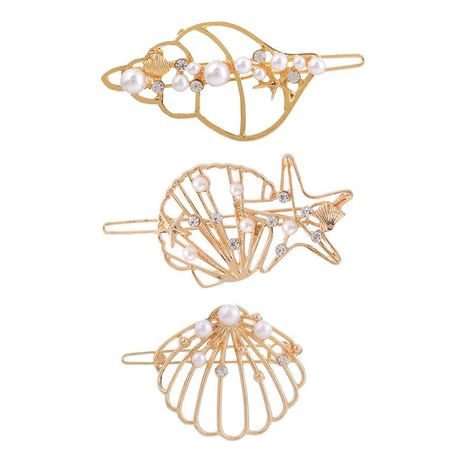 Best selling hair accessories new alloy starfish shell conch hairpin folder NHHN176486's discount tags