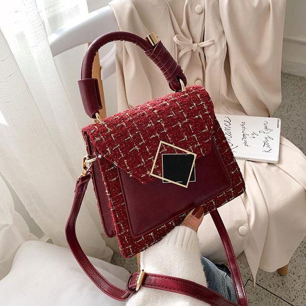 Vintage woolen handbag small bag female new fashion shoulder bag NHLD176808