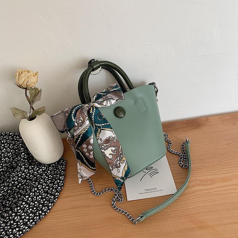 New fashion wild gas chain portable bucket bag simple silk scarf hit color shoulder Messenger bag NHPB176676