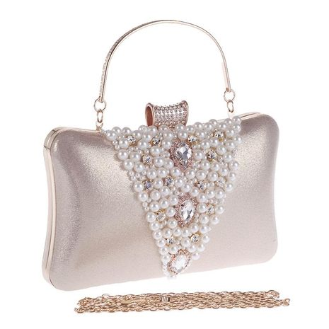 Women's bag diamond evening party bag cocktail party pearl bag hand dress bag NHYG176840's discount tags