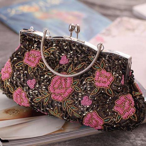Nuevo bolso de fiesta de noche rosa bordado artesanal clásico cheongsam bordado con cuentas NHYG176842's discount tags