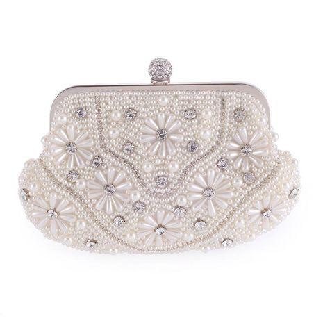 Nuevo bolso de mujer moda perla fiesta de noche bolso de novia bolso de boda cadena de mano bolso de hombro individual NHYG176847's discount tags