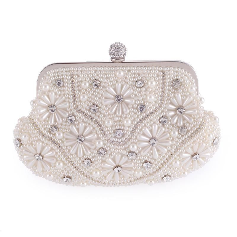 New women's bag fashion pearl evening party bride bag wedding bag hand chain single shoulder bag NHYG176847