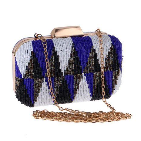 Bolso casual para mujer, bolso de fiesta para la noche, bolso cuadrado pequeño, bolso bordado con cuentas de color de contraste de alta gama NHYG176854's discount tags