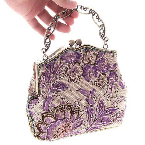 Bolsa bordada con cuentas de arpillera bolsos bolsos artesanales bolso de mujer bolso clásico con cuentas NHYG176853's discount tags