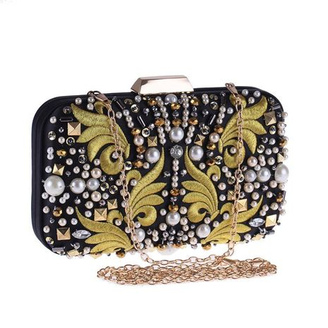 Bolso de embrague retro para mujer, bolso de noche, vestido cheongsam, máquina a juego, perla bordada, bolso cuadrado pequeño para mujer NHYG176859's discount tags
