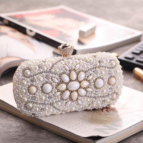 Craft Pearl Hard Shell Diamond Studded Dinner Bag Fashion Chain Bag Women's Handle Small Square Bag NHYG176862's discount tags