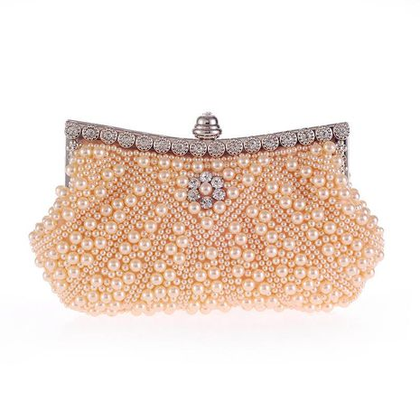 New Diagonal Pearl Belt Diamond Fashion Dinner Bag Handbag Beaded Embroidered Handbag NHYG176864's discount tags