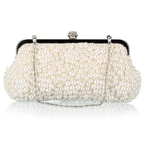 Bolso de perlas de moda Bolsos de cuentas de poliéster Bolso cuadrado pequeño con bolso de cena de diamantes NHYG176866's discount tags