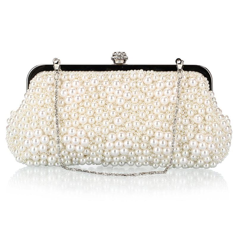 Fashion Pearl Bag Polyester Beaded Bags Crossbody Small Square Bag with Diamond Dinner Bag NHYG176866