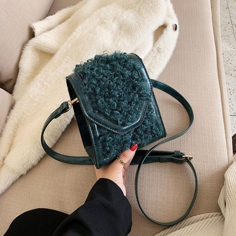 Bolso femenino nuevo felpa pequeña bolsa cuadrada hombro Messenger bag NHTC176726's discount tags