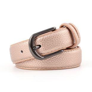 Ladies belt wild fashion retro gun black alloy buckle head stone pattern pu belt women NHPO183185's discount tags