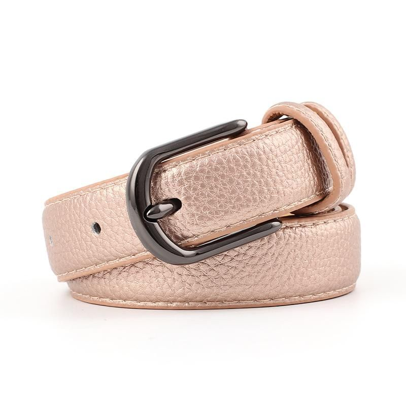 Ladies belt wild fashion retro gun black alloy buckle head stone pattern pu belt women NHPO183185