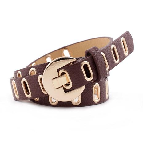 Casual PU Leather Belt Mujeres Jeans Moda Cinturón decorativo Cinturón de ojo de maíz al por mayor NHPO183186's discount tags
