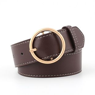 Round buckle women's wide belt gold and silver buckle pants belt women's decorative belt NHPO183191's discount tags