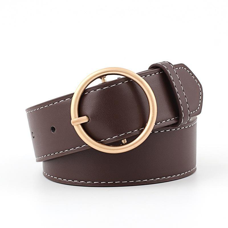 Round buckle women's wide belt gold and silver buckle pants belt women's decorative belt NHPO183191