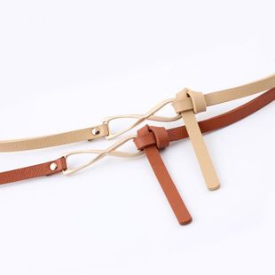 Reversed knotted belt ladies fashion small belt fine belt multicolor belt wholesale NHPO183200's discount tags