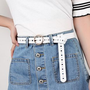 Round buckle leather belt ladies hollow belt fashion wild jeans belt casual NHPO183199's discount tags