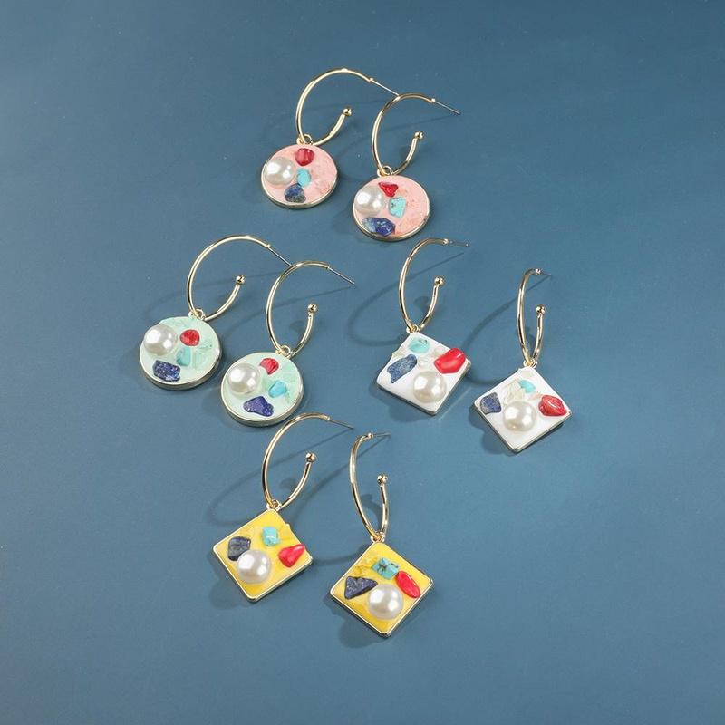 New fashion sweet earrings female sweet candy-colored pearl earrings earrings NHLL183205