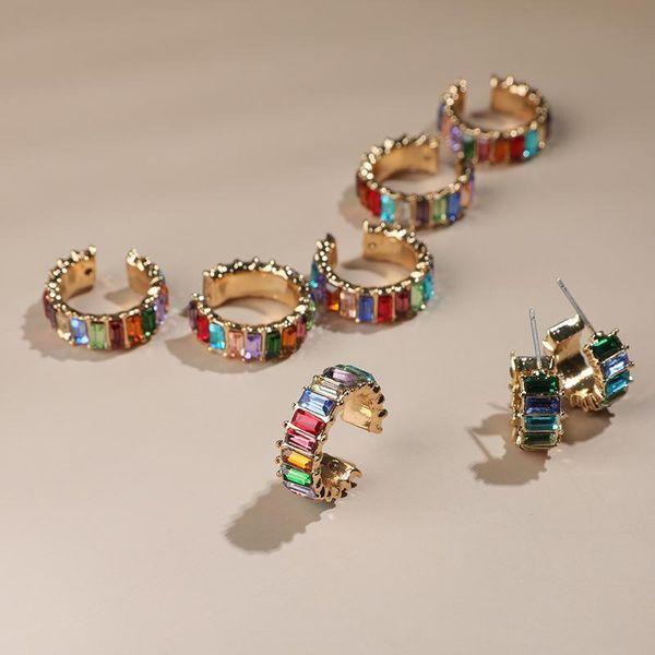 New glass diamond jewelry European and American simple C-shaped stud earrings female alloy geometric color diamond earrings NHLL183207