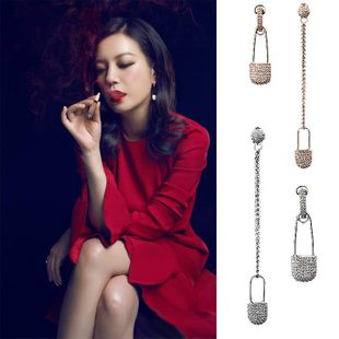 Long pin earrings female S925 silver asymmetric zircon earrings NHDO183280's discount tags