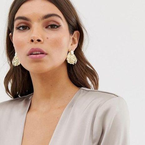 Bohemia Geometric Earrings Creative Leaf Pearl Stud Earrings NHGY183383's discount tags