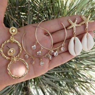 New Earrings Starfish Shell Earring Set Geometric Diamond Circle Earrings NHGY183389's discount tags