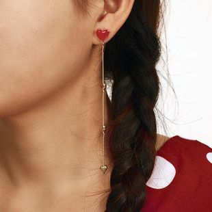 New earrings red love earrings asymmetric red heart love earrings girl NHGY183394's discount tags