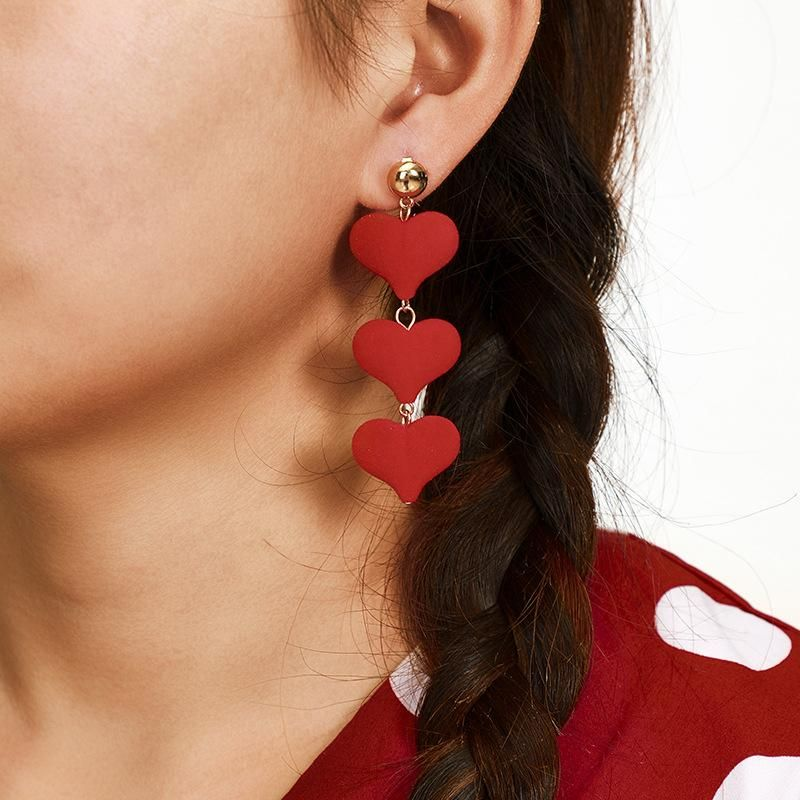 New red love velvet heart peach heart pendant long temperament earrings for women NHGY183399