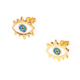 New Devil's Eye Fashion Gold Plated Oil Drop Earrings Eye Studs Wholesale NHPY183180's discount tags