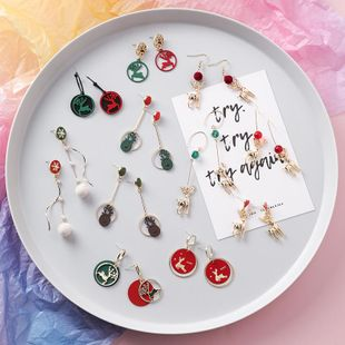 Fashion Christmas earrings Christmas gift sweet fawn snowflake hair ball earrings women NHMS183253's discount tags