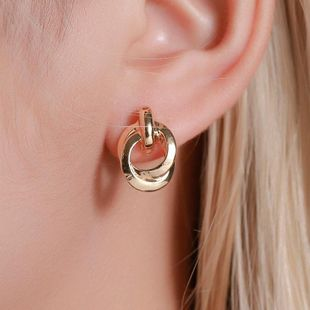 Textured double metal winding earrings temperament circle knot earrings women NHDP183310's discount tags