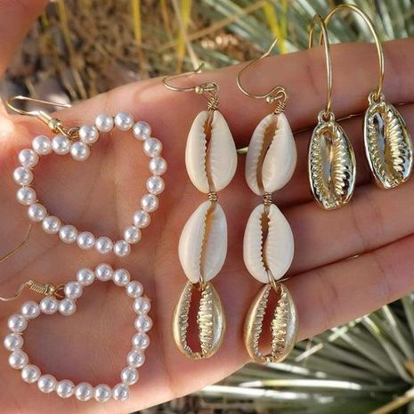 Creative alloy pearl love peach heart shell earrings earrings 3-piece set wholesales fashion NHGY183413's discount tags