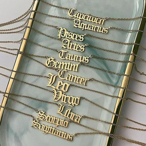 Fashion Creative Twelve Constellation Necklace Vintage English Alphabet Item Decoration wholesales fashion NHNZ183333's discount tags