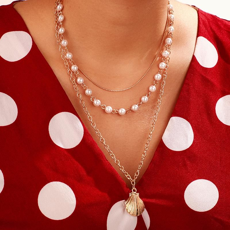 New pearl shell necklace personality simple scallop pearl multilayer necklace neck women  NHGY183400