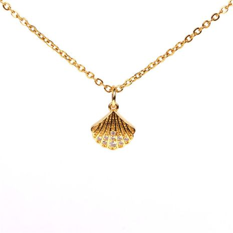 Collar de conchas de diamantes completo temperamento de circón chapado en cobre cadena de clavícula nicho hembra NHPY183160's discount tags