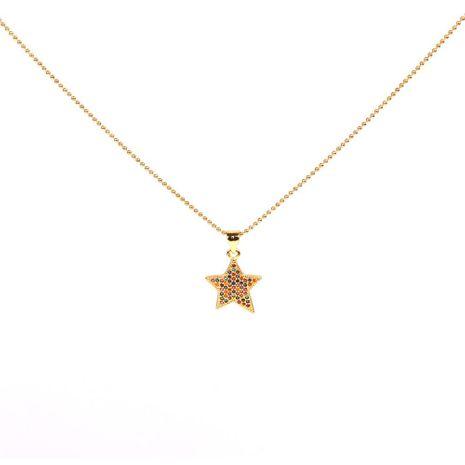 Pequeña estrella de cinco puntas de cadena de cuentas de acero inoxidable con collar colgante de diamantes NHPY183162's discount tags