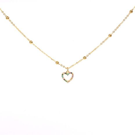 Collar de amor hueco de temperamento Colgante de diamantes de colores Cadena de clavícula de moda NHPY183165's discount tags