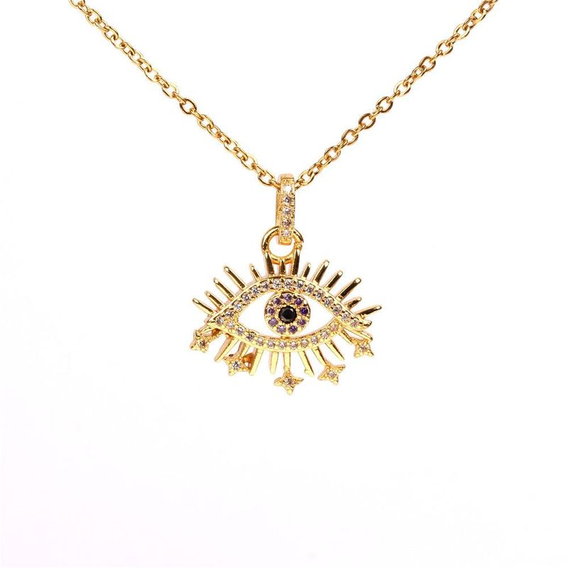Devil's Eye Turkish Blue Eye Necklace Creative Fashion Trendy Zircon Necklace NHPY183173