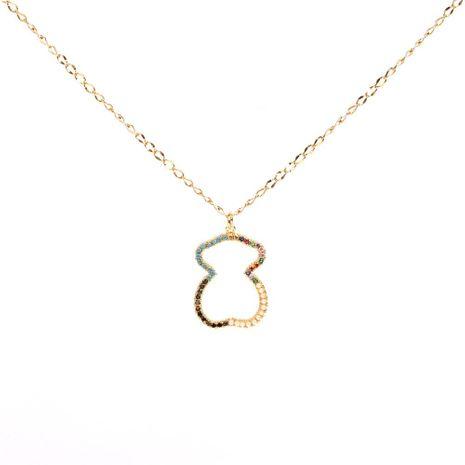 Collar colgante de oso de diamante micro incrustación de latón plateado Cadena de clavícula hueca creativa de moda NHPY183174's discount tags