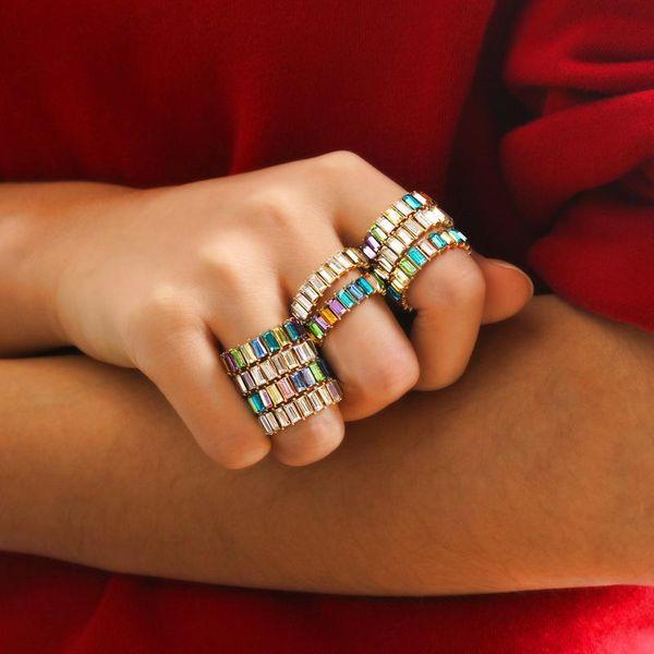 Colorful crystal ring fashion geometric square diamond ring rainbow gem index finger ring women NHDP183311