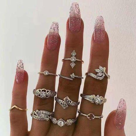 New creative hip hop joint ring set eyes stars moon diamond retro ring NHJE183368's discount tags