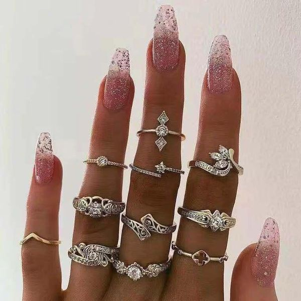 New creative hip hop joint ring set eyes stars moon diamond retro ring NHJE183368