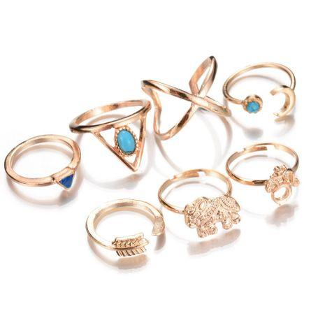 Anillo de nudillo vintage conjunto de siete piezas anillo de flecha de luna de elefante azul turquesa geométrico NHBQ183287's discount tags